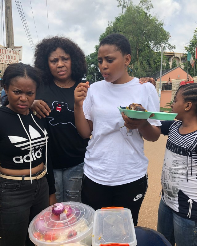 Regina Daniels pictured eating Abacha