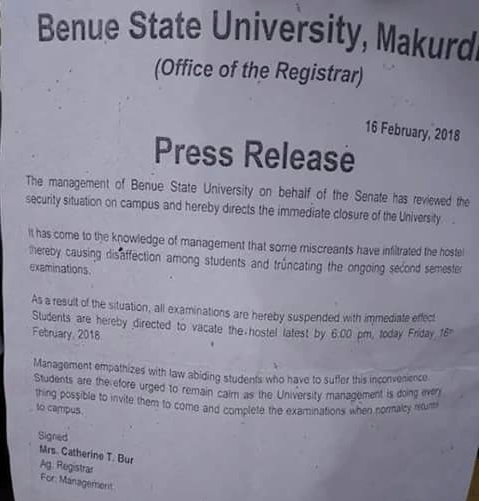 Benue State University shut down