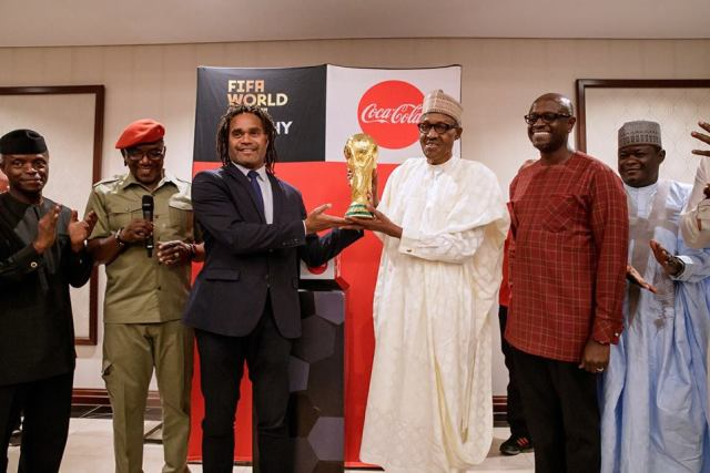 President Buhari receives original FIFA World Cup Trophy