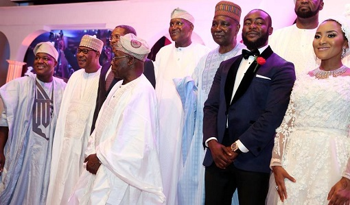 Image result for obasanjo at fatima dangote wedding