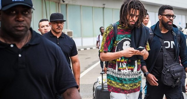 J-Cole arrives Nigeria