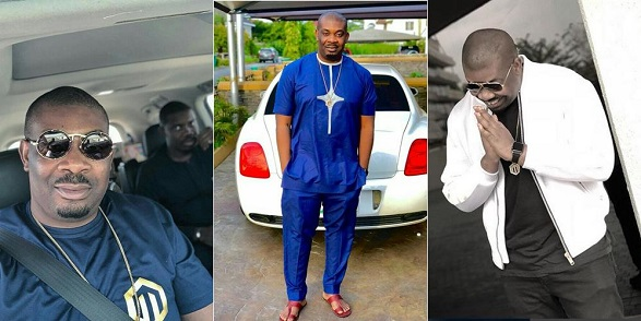 Don Jazzy poses in front of his Bentley, Efe, Khloe, Mr. P others react