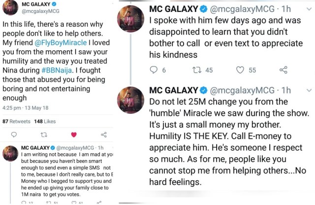 MC Galaxy calls out Miracle, says he's refused to appreciate E-Money