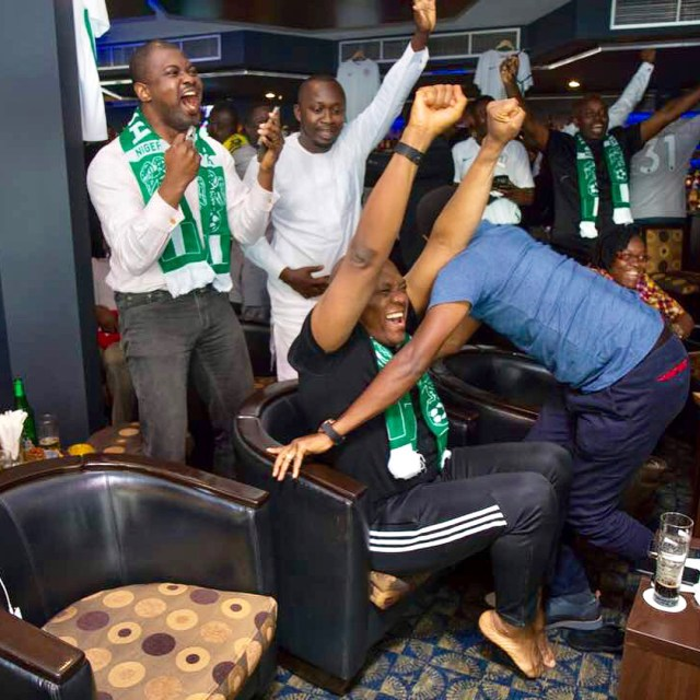 How billionaire, Tony Elumelu celebrated Nigeria's victory over Iceland in Russia. (Photos)