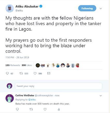 Atiku reacts to tanker explosion on Otedola Bridge, Lagos-Ibadan Expressway