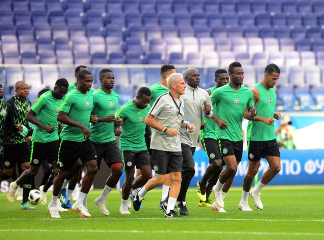 Super Eagles photoed training