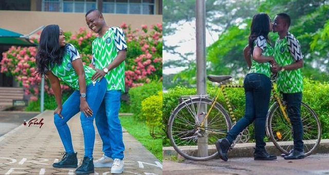 215807fa436 Couple rock their Original Super Eagles Jersey in beautiful Pre-Wedding  Photos