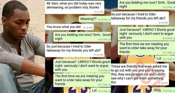 Nigerian Man Abandoned His Date Who Ordered Takeaway of N7,000 for her Friends