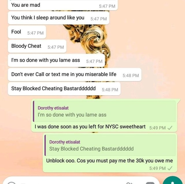 Lady finds out her man is cheating after checking the quantity of his sperm. (Whatsapp screenshot)