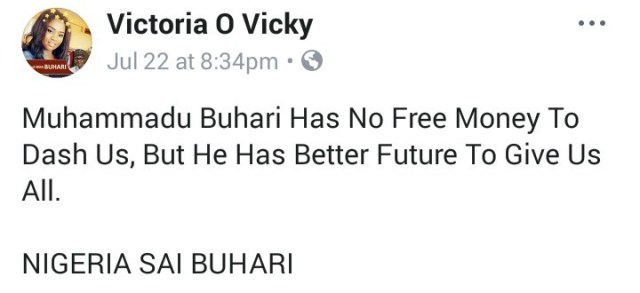 """""""President Buhari has no free money to give, but he has a better future for all of us"""" – Lady, says"""