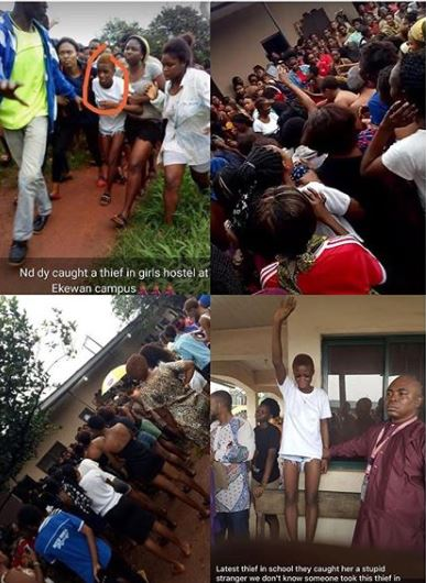 An unidentified student of Novena University, Delta State was nabbed inside a female hostel in UNIBEN, Ekenwan Campus this morning.  According to reports, there have been many recent cases of theft in the hostel. Just three days ago, a student reported that her laptop and phone were stolen, overnight, from her wardrobe.     However, this morning, laptops, phones and a hand bag got missing inside three different rooms and an alarm was raised. That was when a student said she spotted a girl with tinted hair, leaving the rooms.    The gate to the hostel was promptly locked and a search was initiated. The suspect was eventually found inside the common room and apprehended. She later confessed to the many thefts.     According to the hostel occupants, the suspect, who claims to be a student of Novena university, goes around telling people that she's a fresh student of Uniben with no hostel space to stay and that they should please accommodate her for the night. .  Once taken in, she strikes by going to surrounding rooms, very early in the morning, to steal, especially when the occupants have gone out to have their bath. She is currently at the security office at Ugbowo, Uniben.