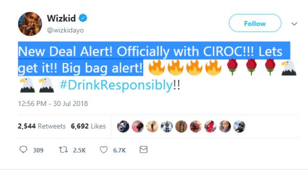 Wizkid bags endorsement deal with Ciroc (Video)