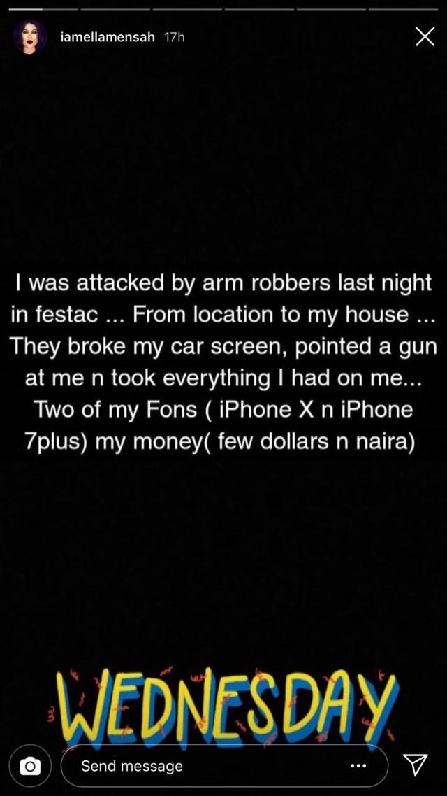 Ella Mensah robbed