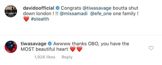 Davido congratulates Tiwa Savage