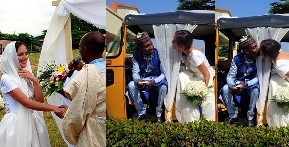 Photos: Nigerian man and his American bride wed with tricycle (Keke)