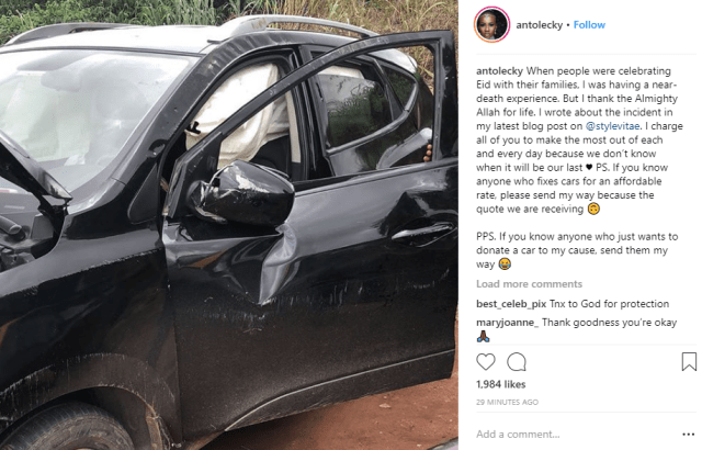 Anto survives car crash