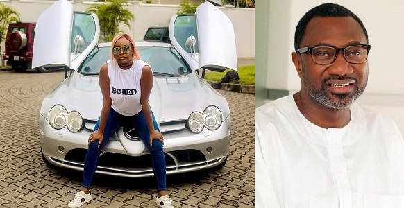 Image result for Femi Otedola reacts after his daughter took his N250m car for a spin. (video)