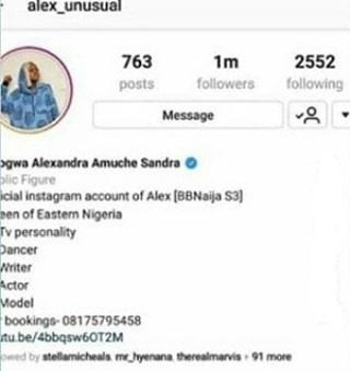 Alex celebrates 1 million Instagram followers