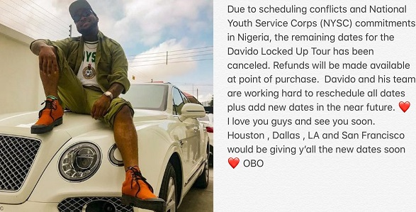 Image result for Davido cancels remaining US tour because of NYSC
