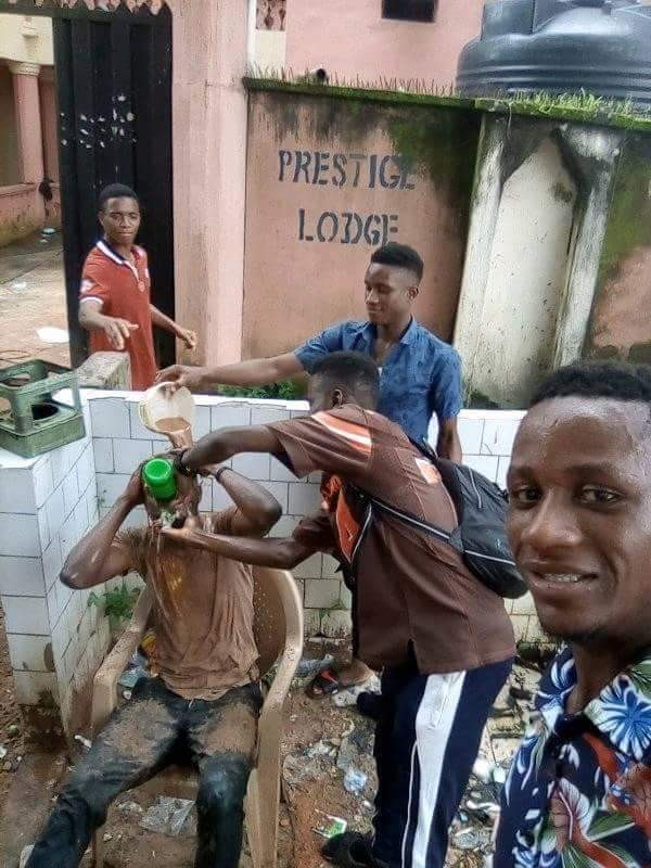 Image result for Tea or Muddy water? Nigerian students celebrate their graduation in really bizarre way (Photos)