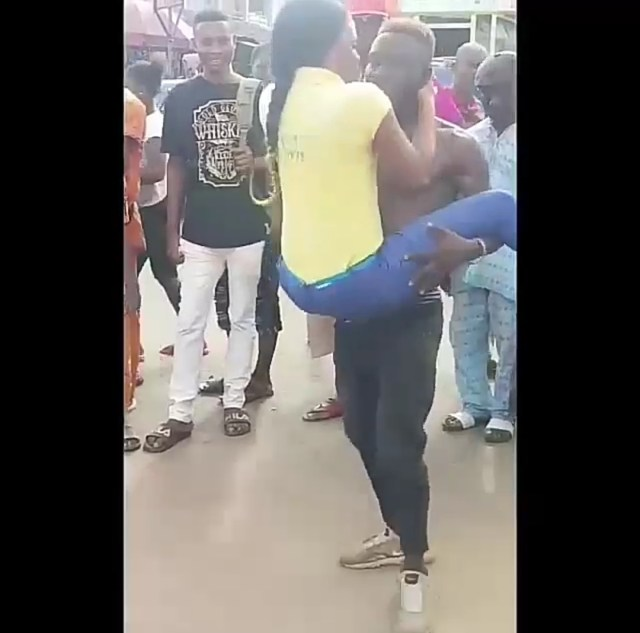 Lady slaps male dancer