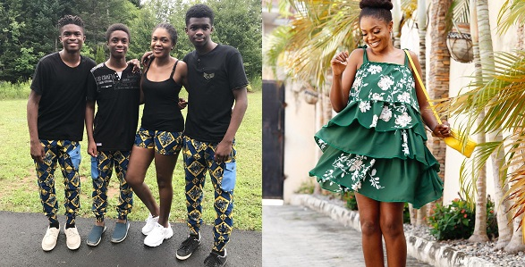 Image result for Lovely family photo of Omoni Oboli and her sons rocking matching outfits as they celebrate Independence Day