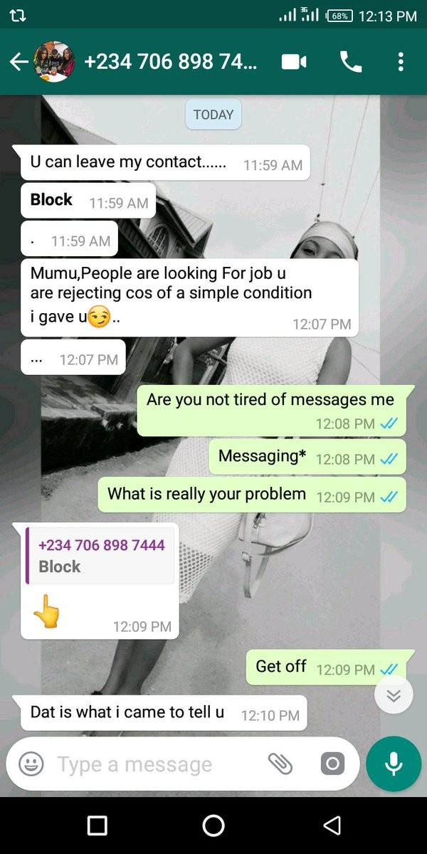 Nigerian Lady Shares Whatsapp Chat She Had With A Man Who Offered Her A Job With 'Conditions'