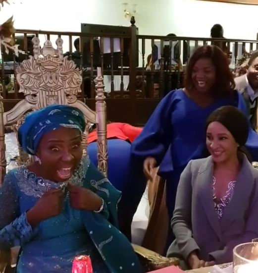 Actress, Adesua Etomi-Wellington surprises her mother at her 60th birthday