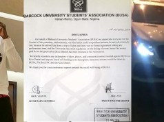 Babcock University Students Association confirm