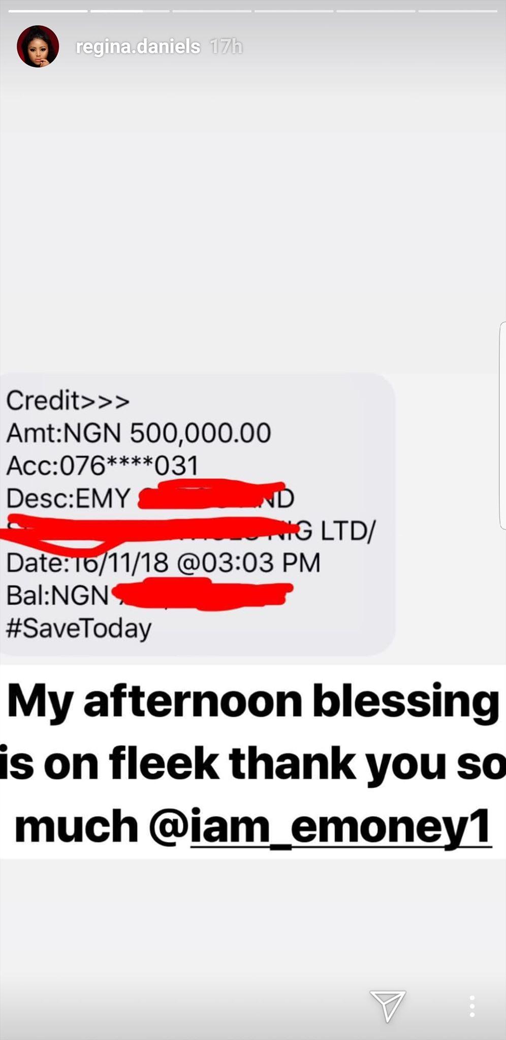 E-Money gifts Regina Daniels