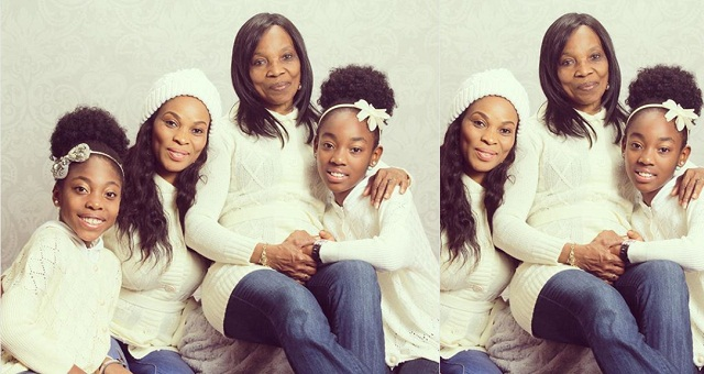 Image result for Actress, Georgina Onuoha shares beautiful photo with her mom and daughters in matching outfits for thanksgiving.