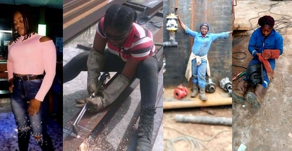 Image result for Meet Pretty Nigerian Lady who makes money from welding (photos)