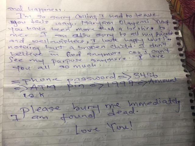 Ashiat Abdulganiyu commits suicide