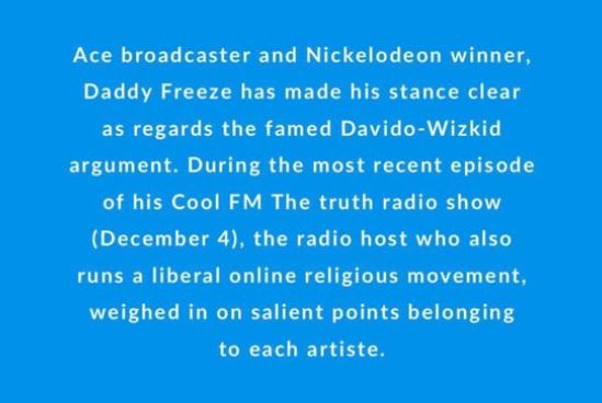 cool fm 0 - Davido sings better than Wizkid and Tekno — Daddy Freeze