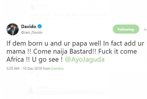 Davido threatens blogger