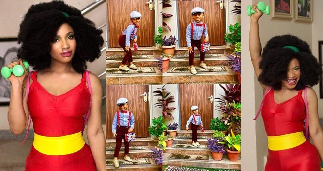 Image result for Tonto Dikeh & her son, King Andre stepped out for his school's old school themed end of year party (photos)
