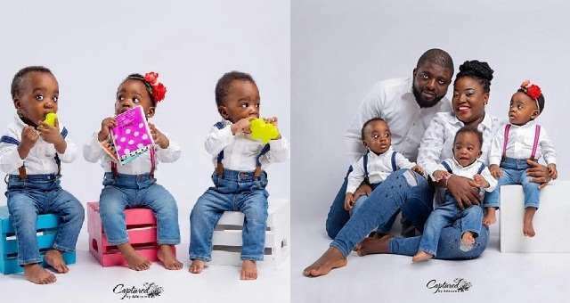Image result for Nigerian couple who welcomed triplets after 6 years of waiting shares adorable photos as they turn one