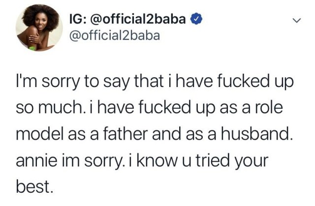 2face Idibia apologizes