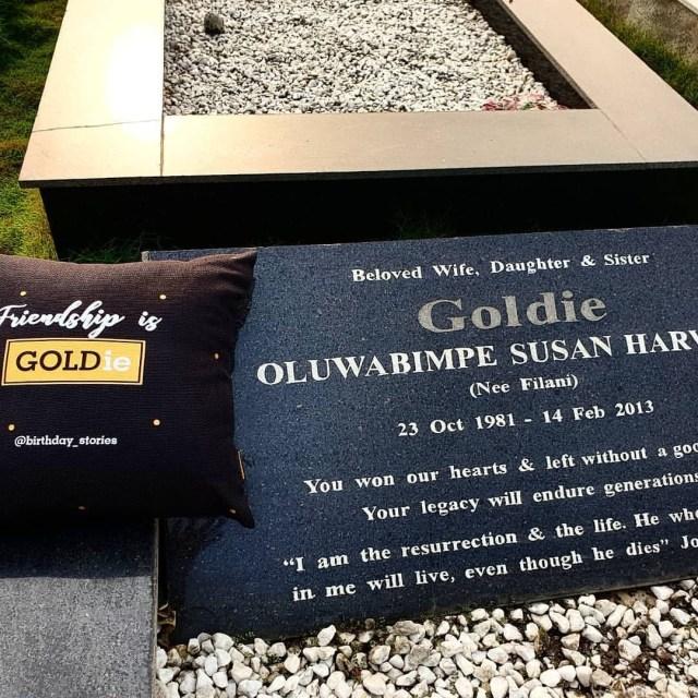 Denrele visits Goldie's graveside