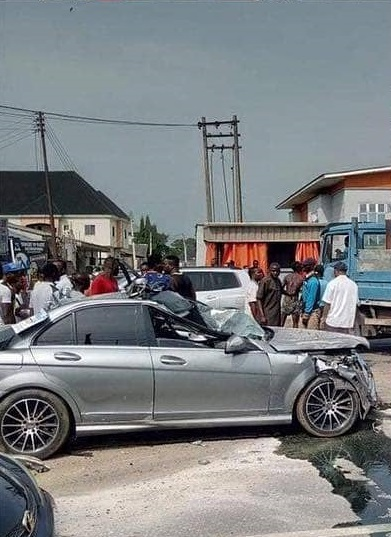 Man crashes a borrowed Benz