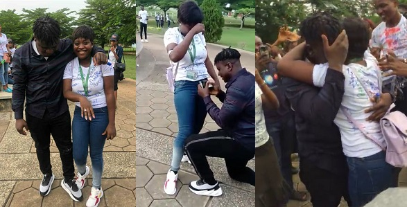 Image result for FUNAAB finalist gets proposed to by her boyfriend during her sign-out shenanigans (Video)