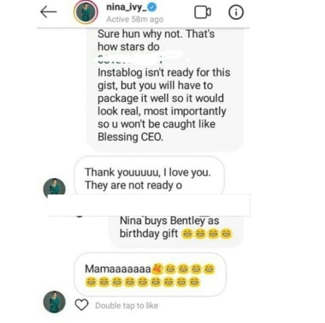 BBNaija Nina's DM leaks