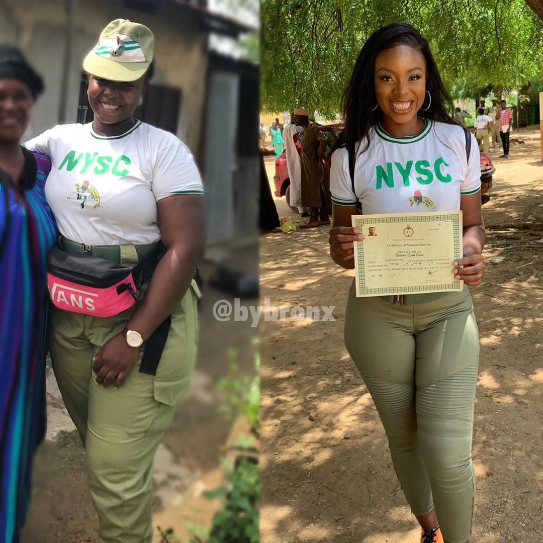 Shocking weight Loss: How Nigerian Lady started NYSC vs How she ended (photos)