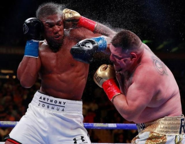Anthony Joshua reacts