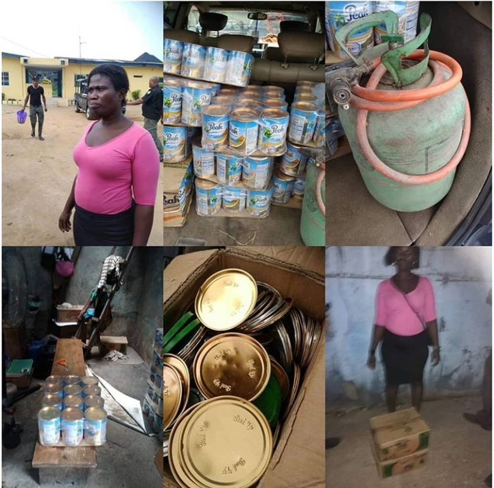 Nigerian Lady who mass produce fake Peak Milk in Nigeria nabbed