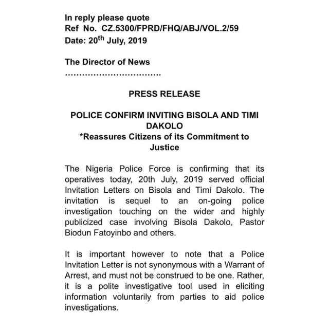 Police confirm inviting Timi