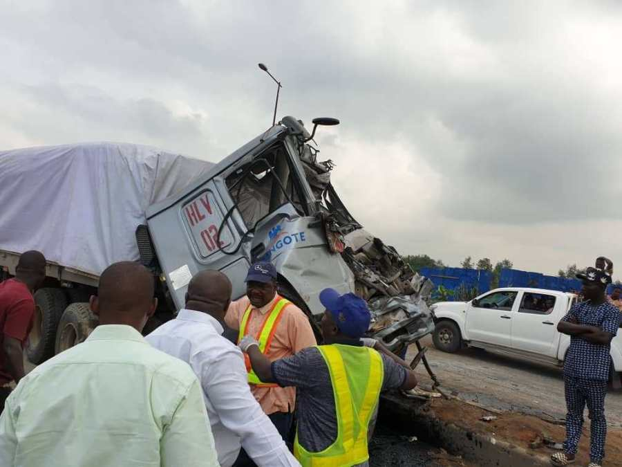Dangote truck crashes
