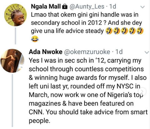 Young lady blasts Nigerian 'Aunty'