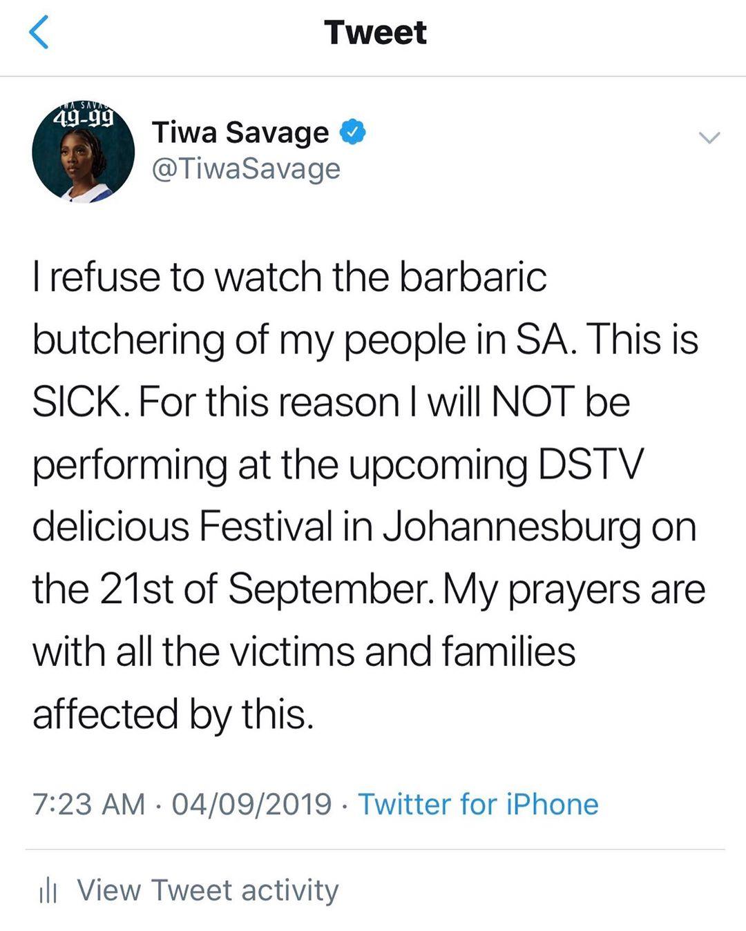 Tiwa Savage Cancels