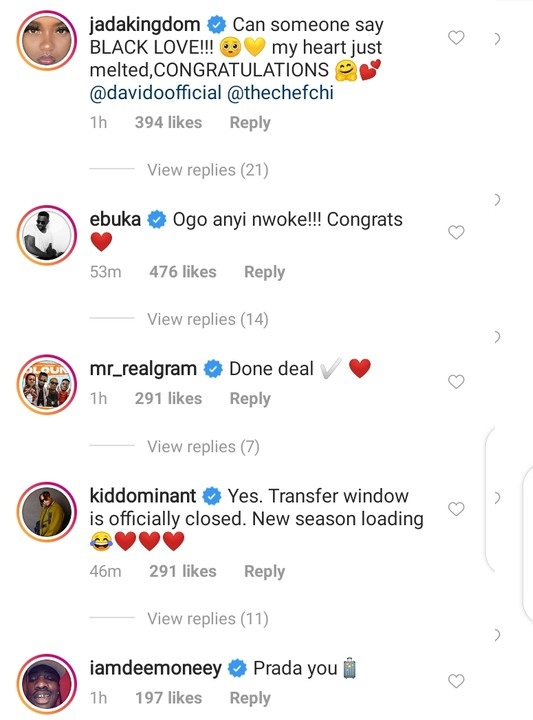 Wizkid's Baby Mama, Tiwa Savage, other celebrities congratulate Davido on marriage Proposal 2